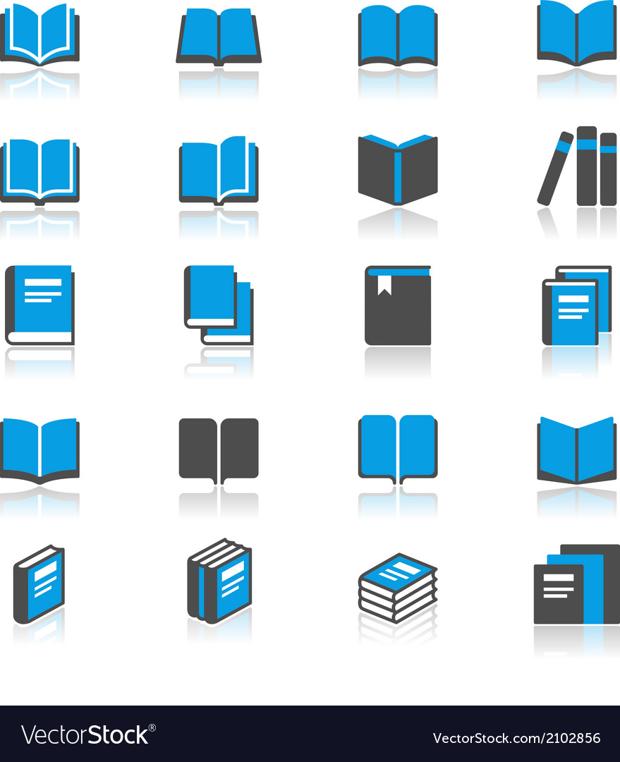 Book flat with reflection icons vector | Price: 1 Credit (USD $1)