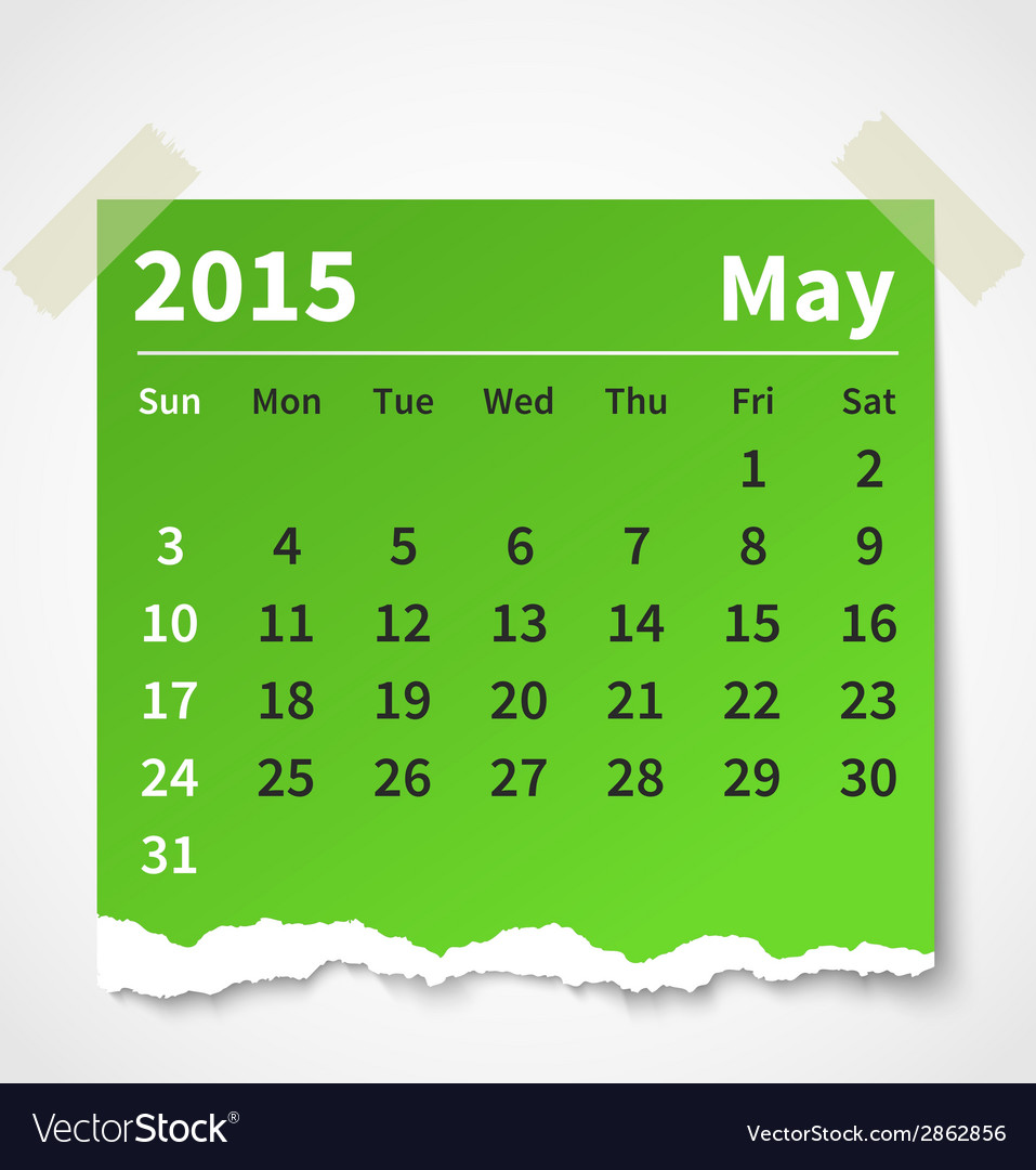 Calendar may 2015 colorful torn paper vector | Price: 1 Credit (USD $1)