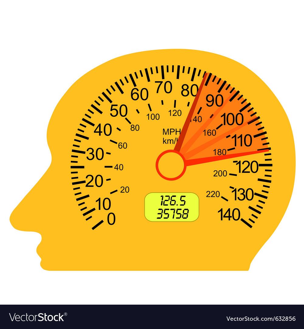 Car speedometer in the human brain vector | Price: 1 Credit (USD $1)