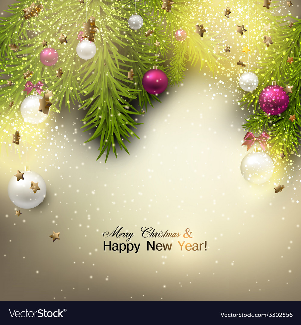 Christmas background with balls colorful xmas vector   Price: 3 Credit (USD $3)