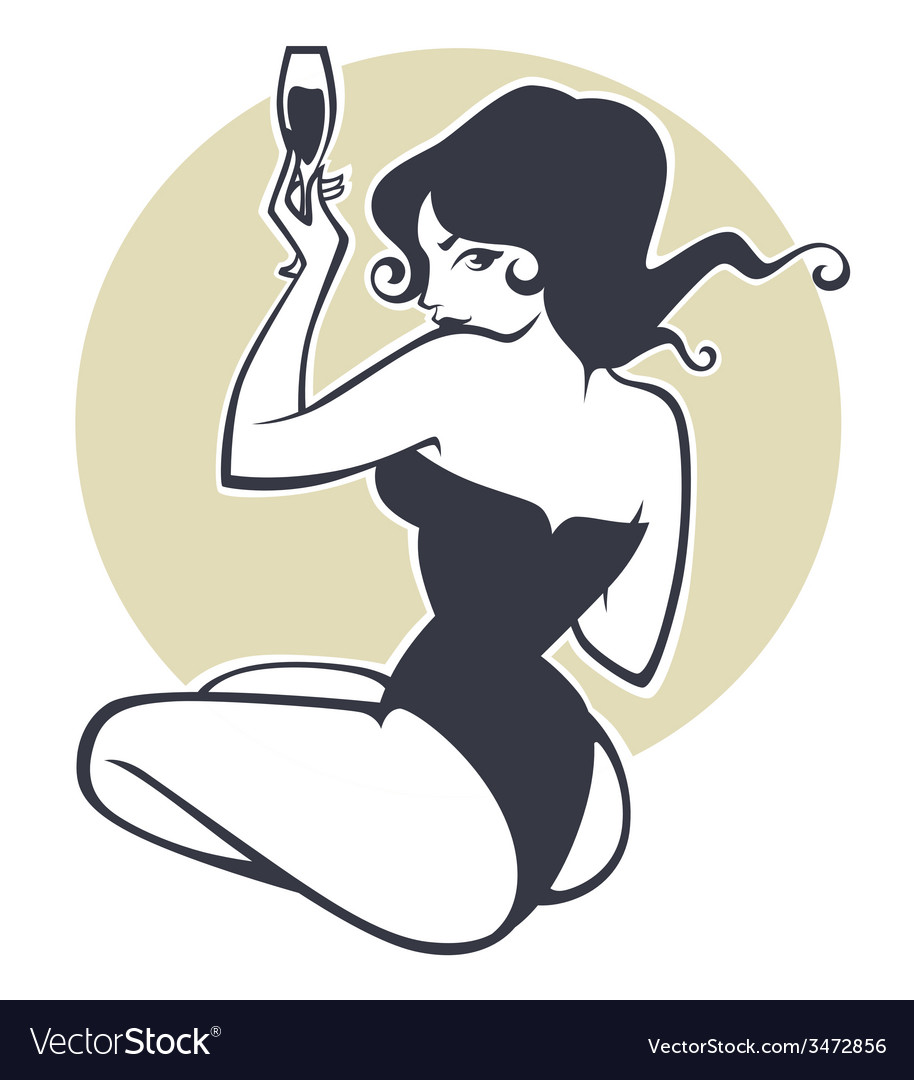 Drinking pinup girl vector