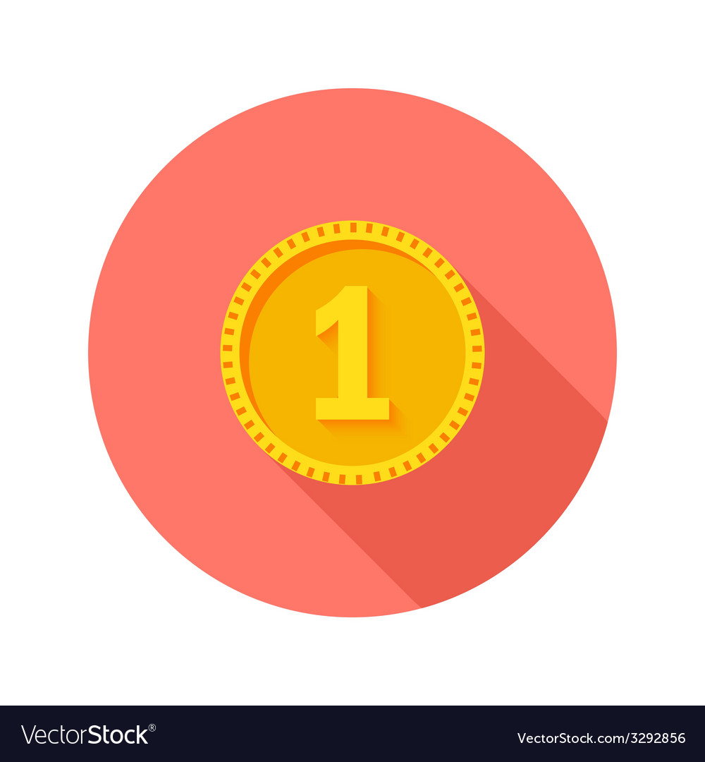 Gold coin money circle flat icon vector | Price: 1 Credit (USD $1)