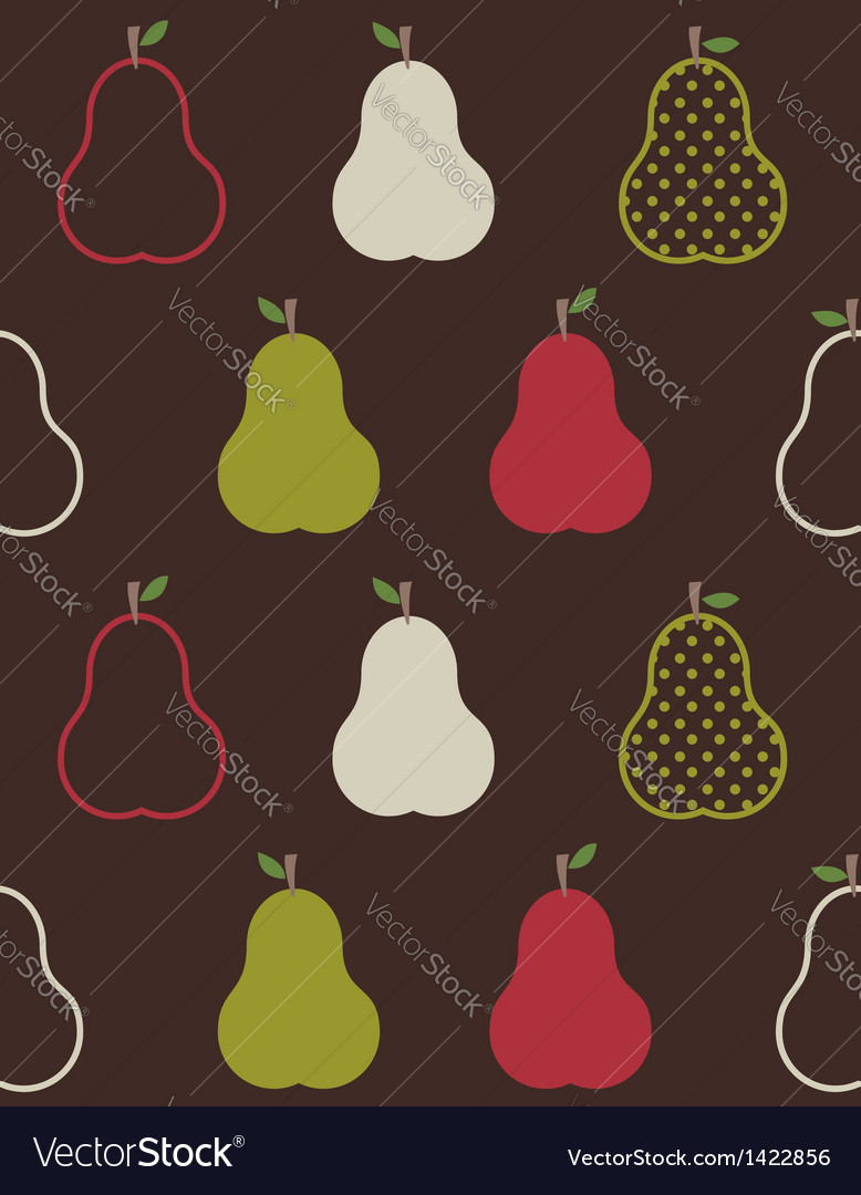 Retro colorful pears pattern vector | Price: 1 Credit (USD $1)
