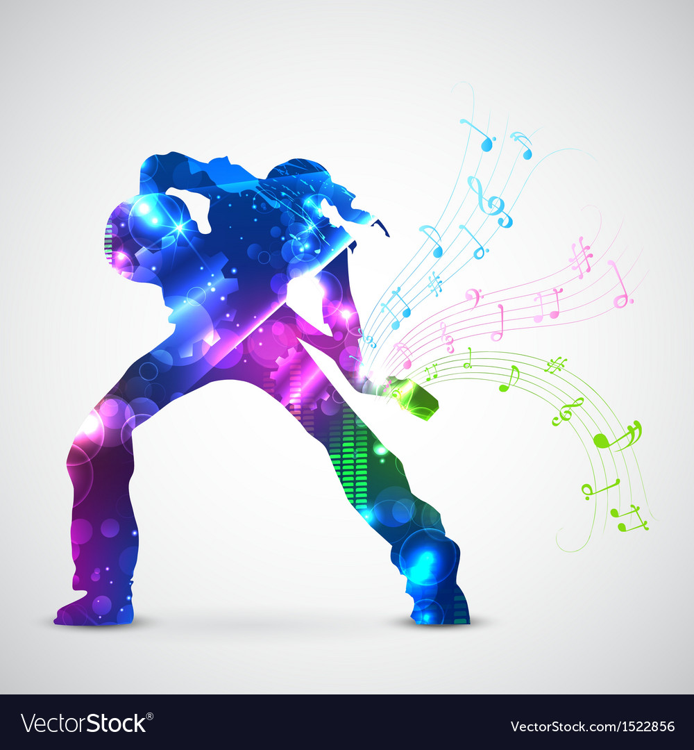Rock star playing guitar vector | Price: 1 Credit (USD $1)