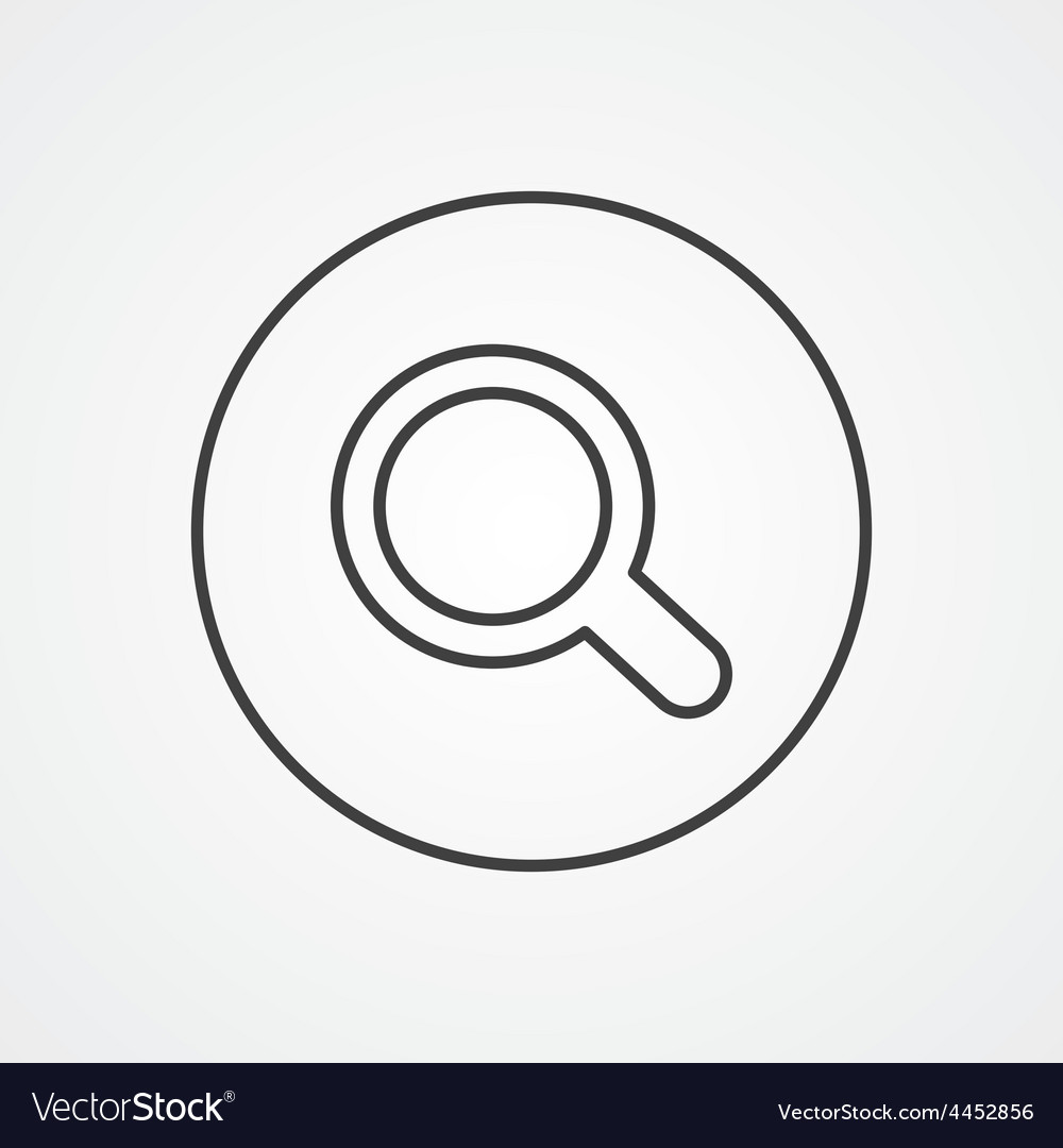 Search outline symbol dark on white background vector | Price: 1 Credit (USD $1)