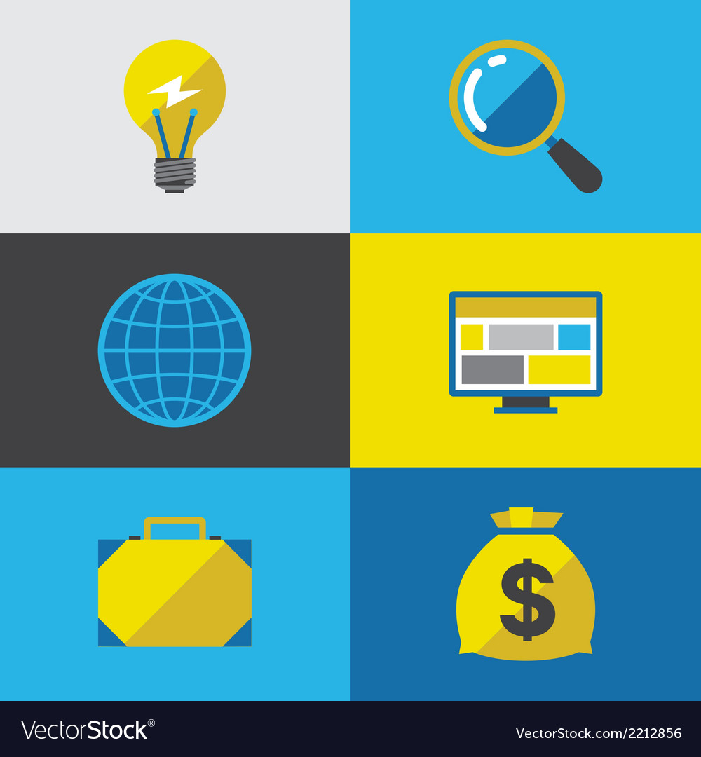 Start-up icon set in flat design style vector   Price: 1 Credit (USD $1)
