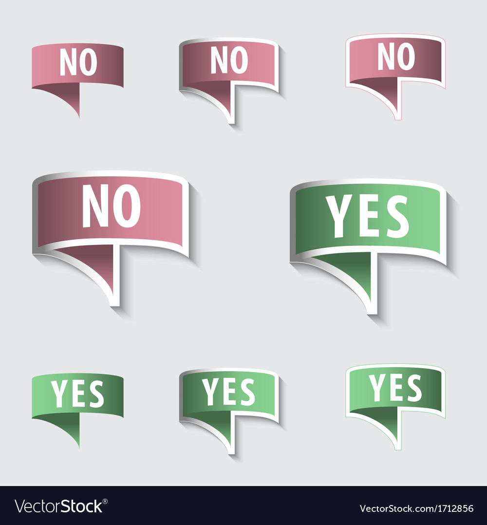 Yes  no check marks buttons vector | Price: 1 Credit (USD $1)