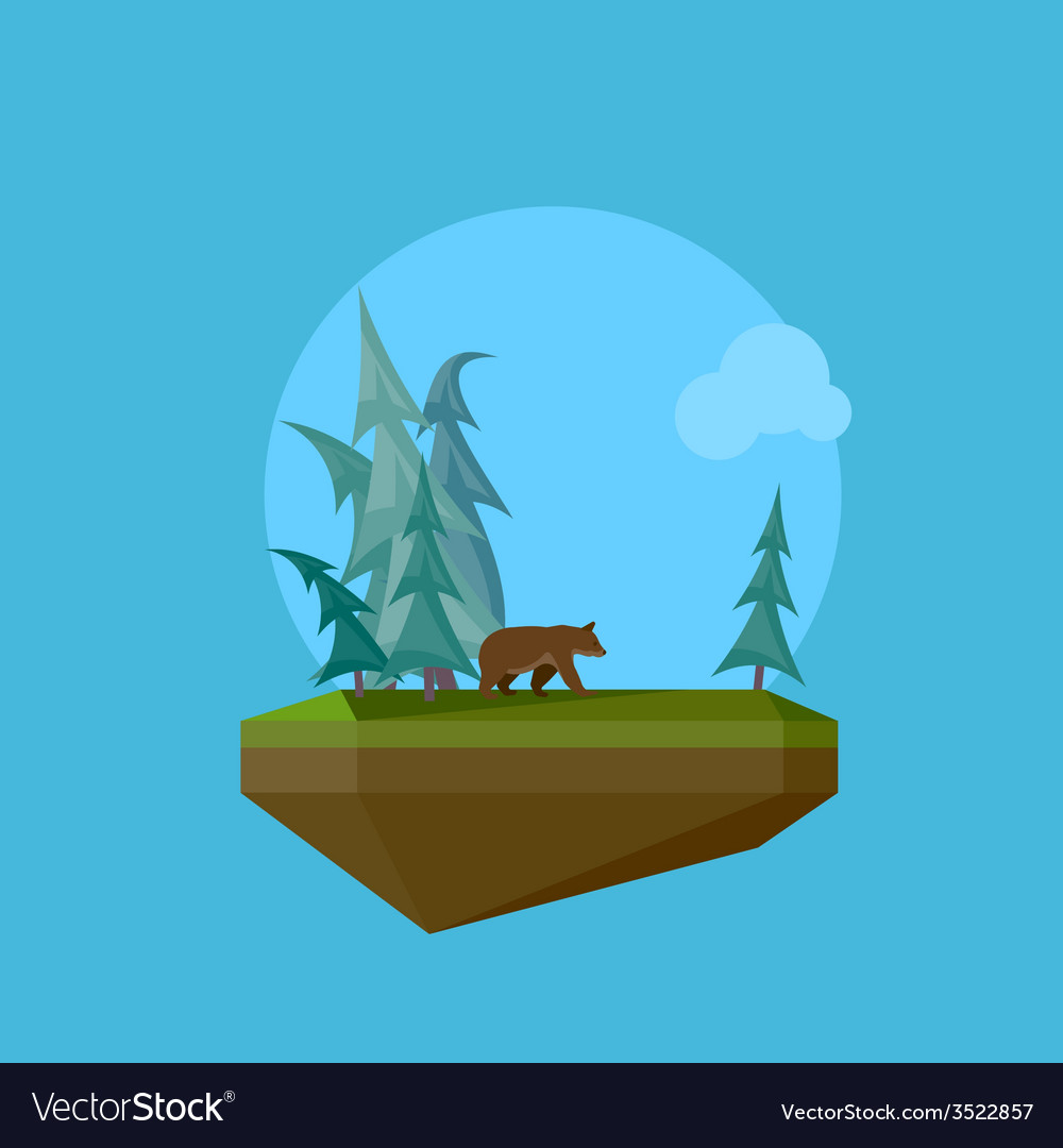 A cartoon flying island with wild nature forest vector | Price: 1 Credit (USD $1)