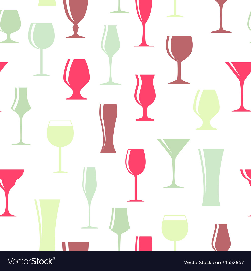 Alcoholic glass silhouette seamless pattern vector | Price: 1 Credit (USD $1)