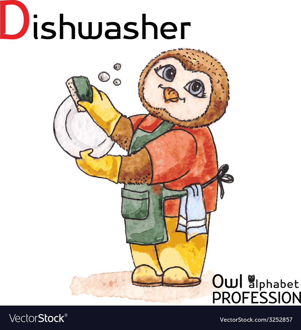 Alphabet professions owl letter d - dishwasher vector | Price: 1 Credit (USD $1)