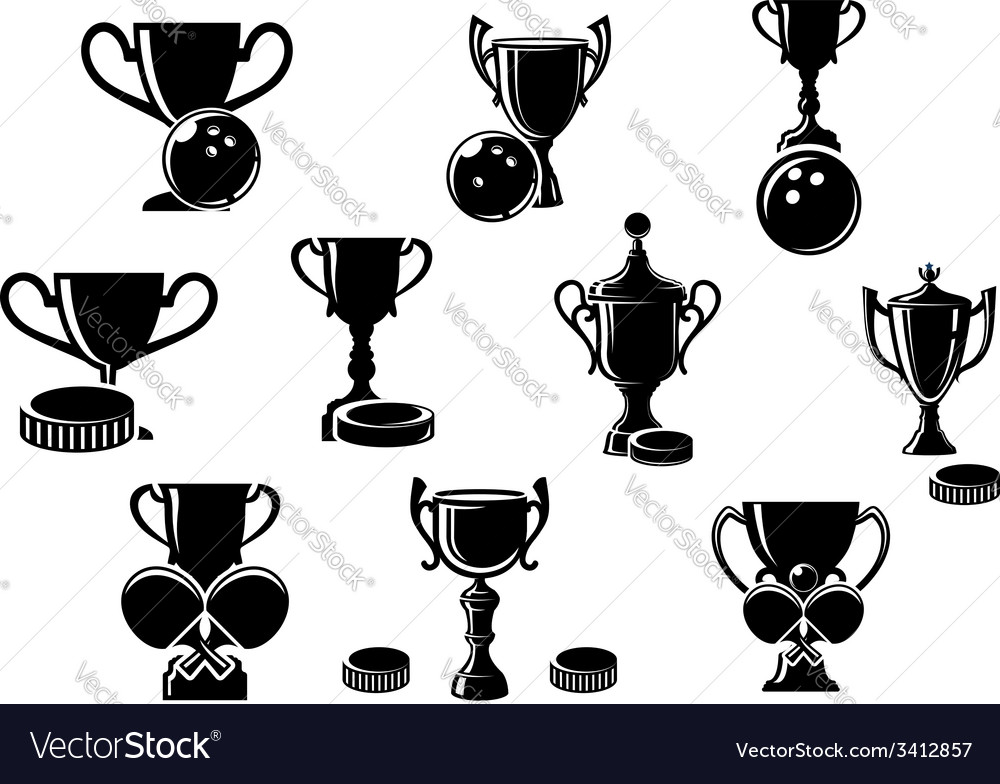 Black and white sports trophies vector | Price: 1 Credit (USD $1)