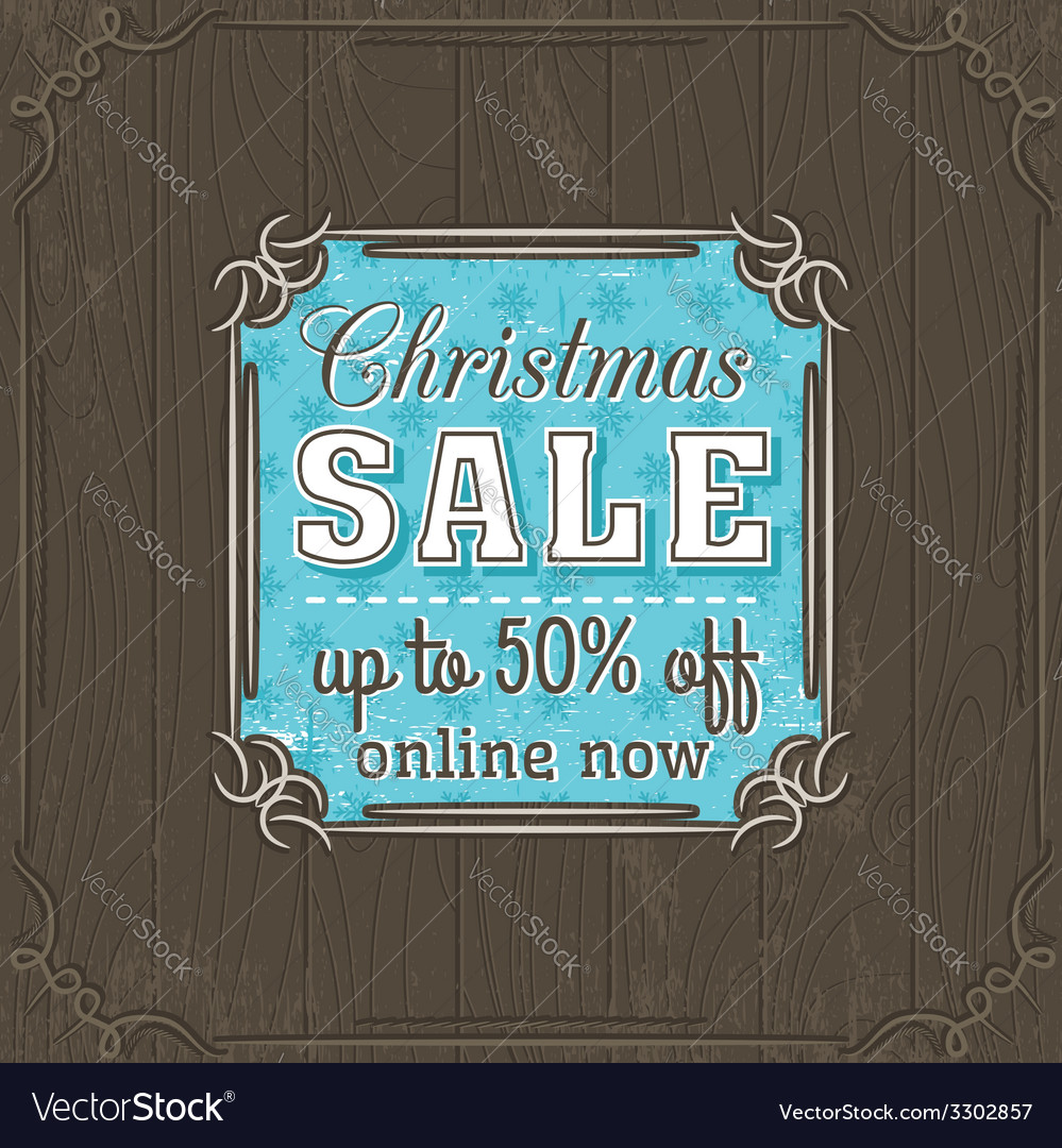 Brown christmas background and sale offer label vector   Price: 1 Credit (USD $1)