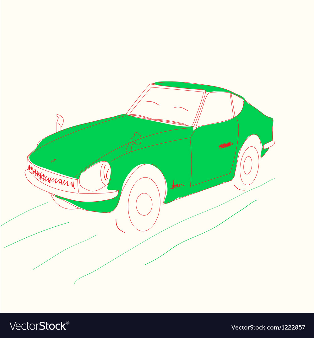 Cartoon green car - vector | Price: 1 Credit (USD $1)