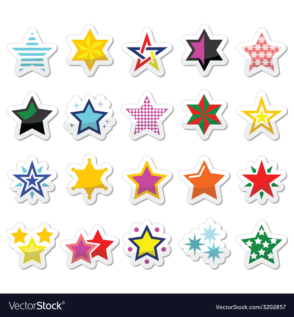 Colorful star icons isolated on white vector   Price: 1 Credit (USD $1)