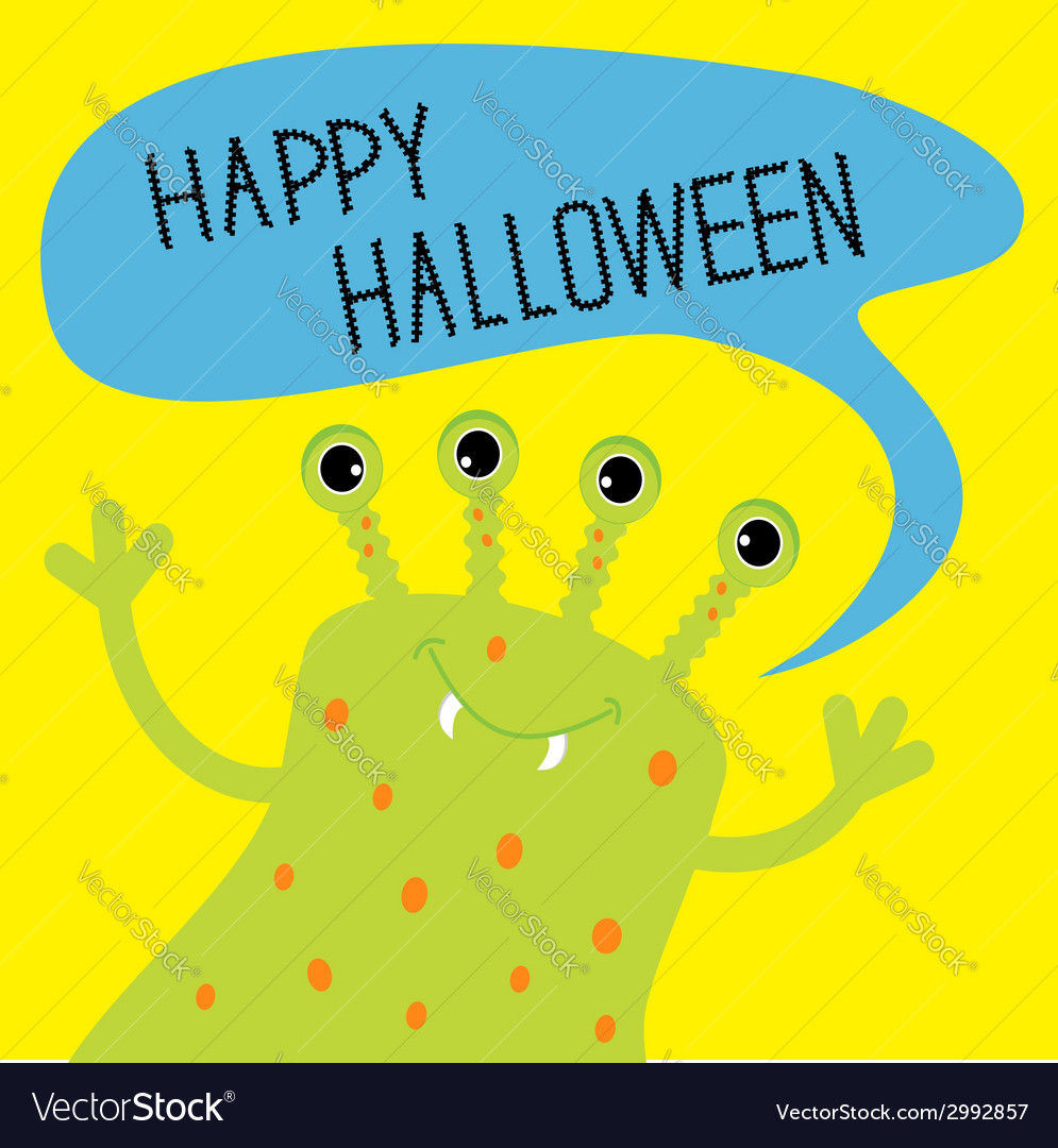 Cute green monster with speech text bubble vector | Price: 1 Credit (USD $1)