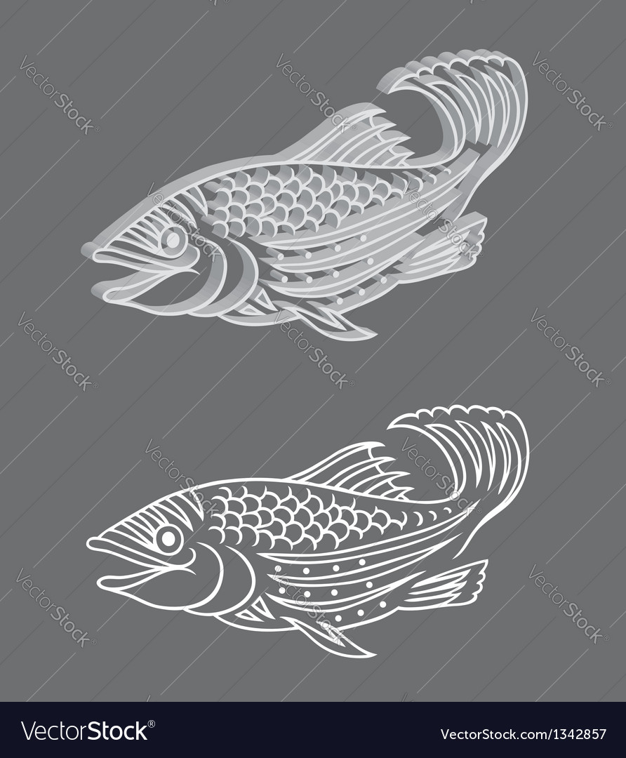 Decorative 3d relief and original fish vector | Price: 1 Credit (USD $1)
