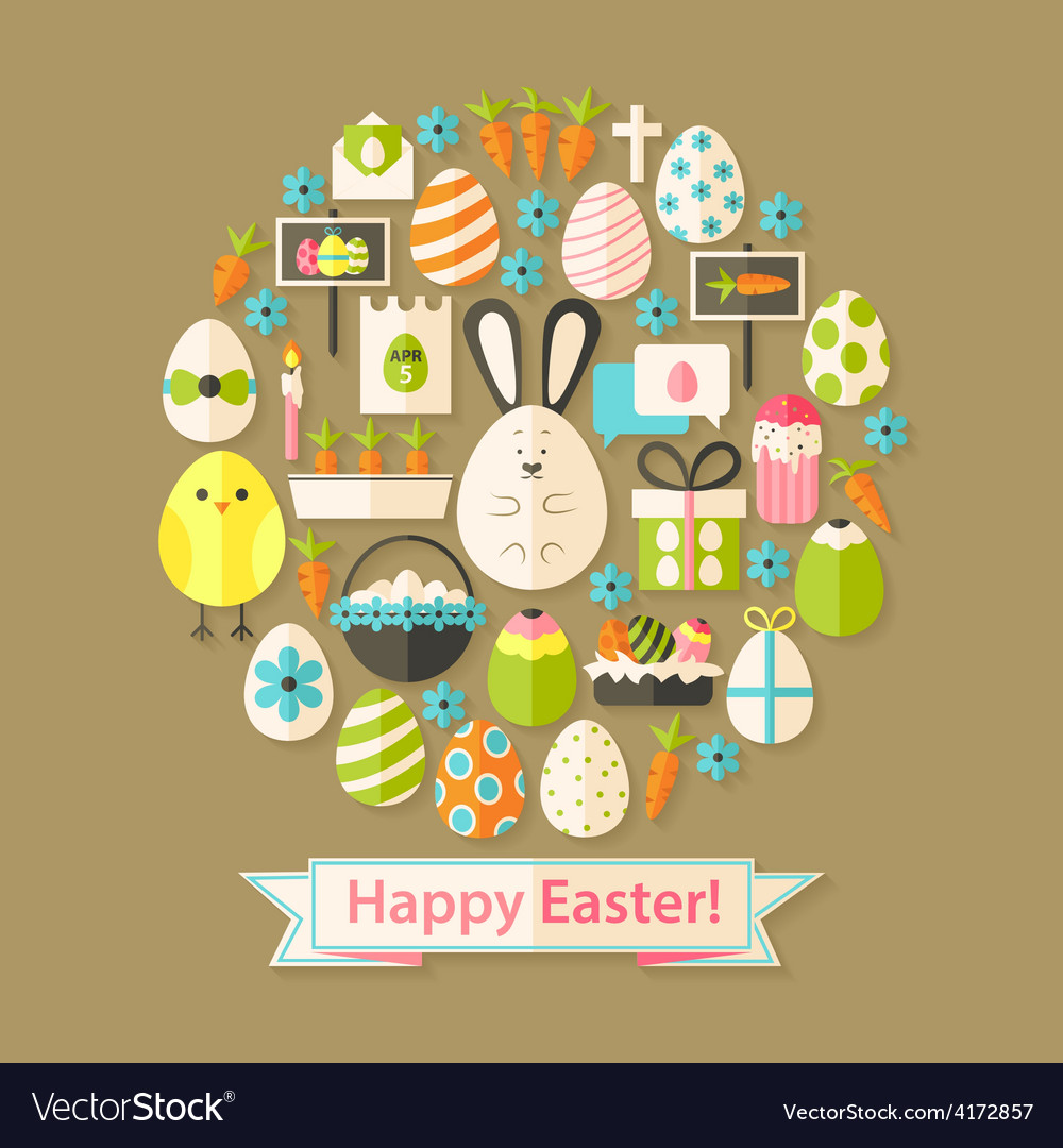 Easter greeting card with flat icons set circular vector | Price: 1 Credit (USD $1)