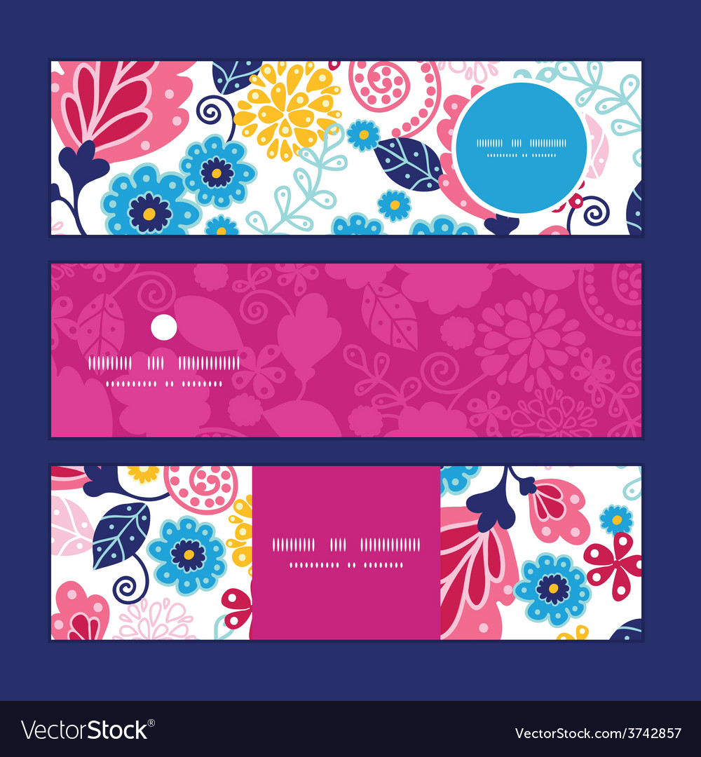 Fairytale flowers horizontal banners set vector | Price: 1 Credit (USD $1)