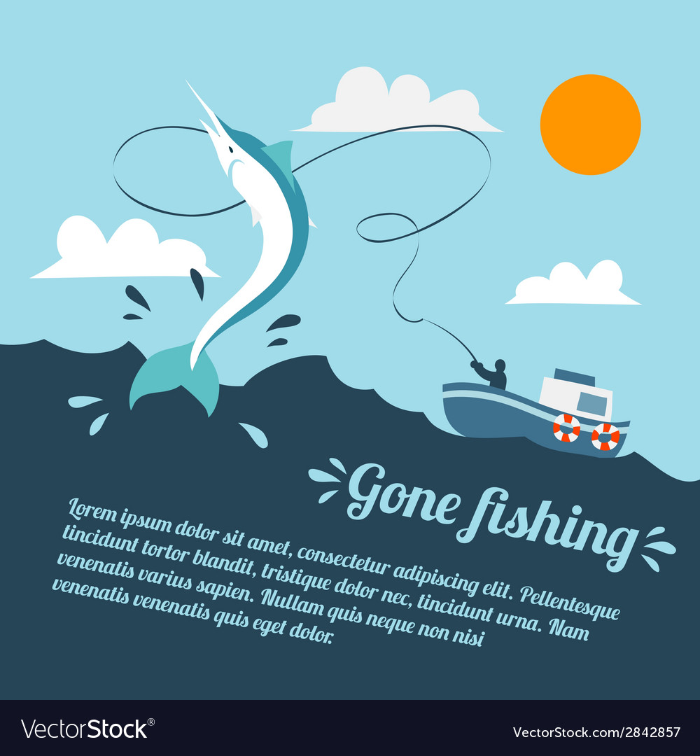 Fishing boat poster vector | Price: 1 Credit (USD $1)