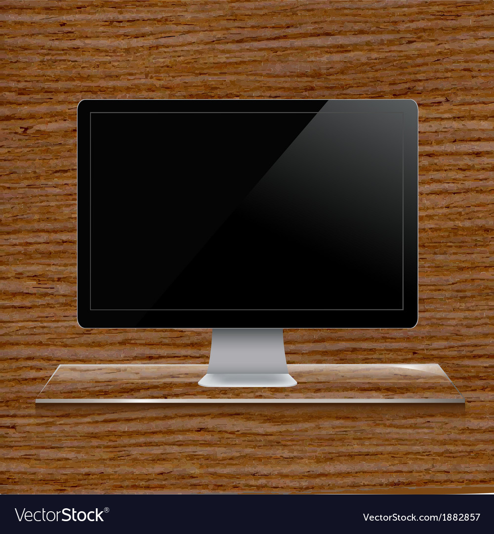 Glass shelf with computer vector | Price: 1 Credit (USD $1)