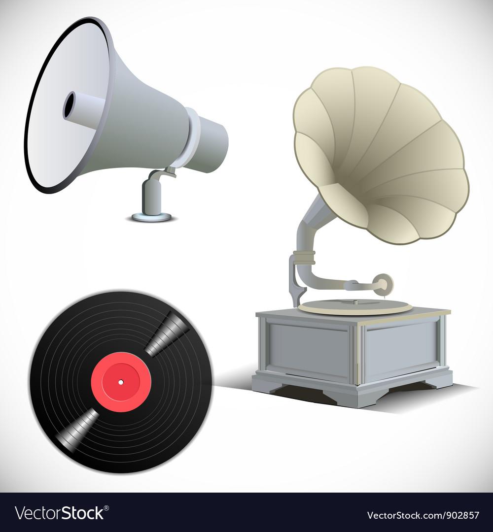 Gramophone megaphone vinyl record vector | Price: 1 Credit (USD $1)