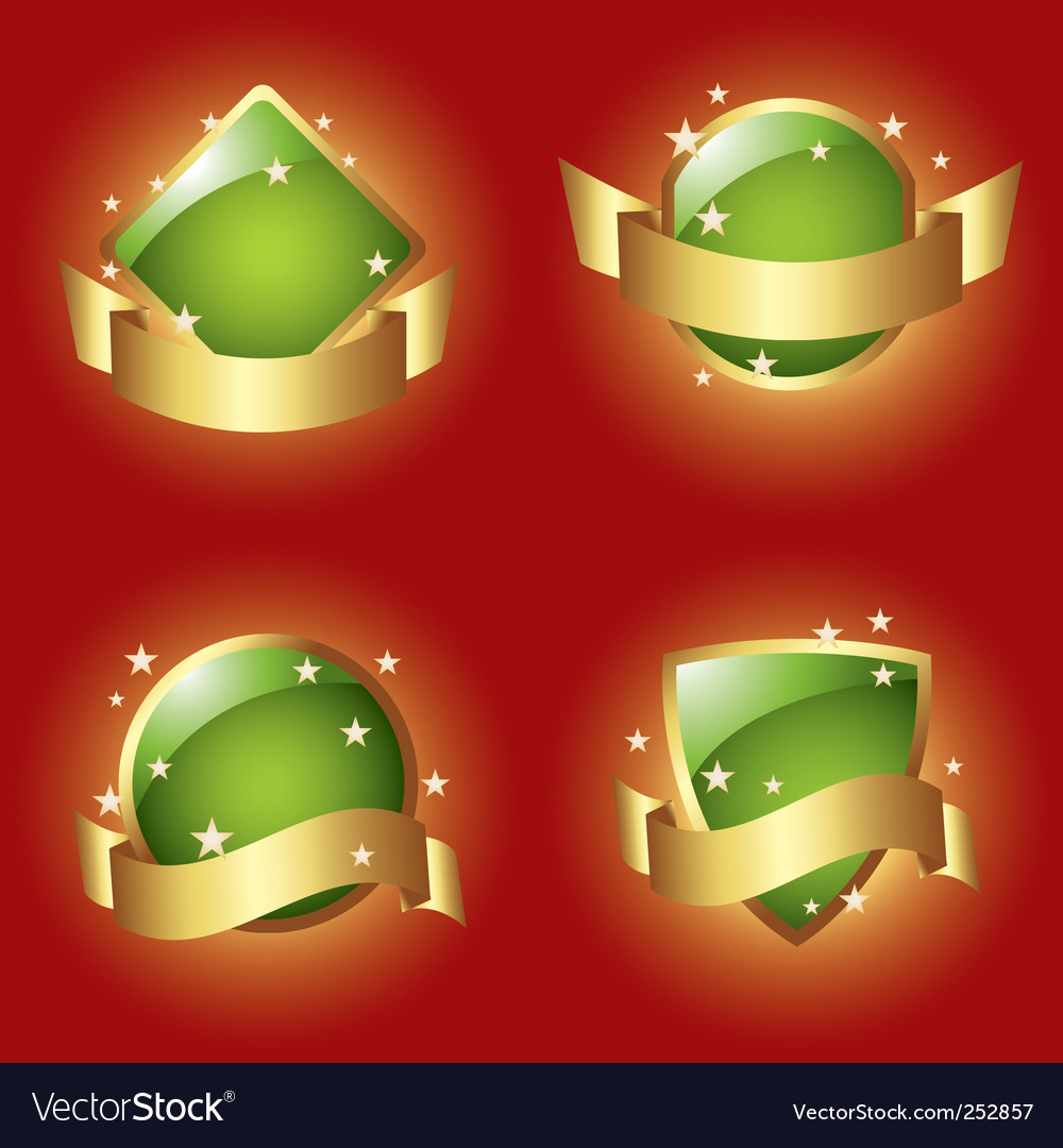 Green labels with ribbons vector | Price: 1 Credit (USD $1)