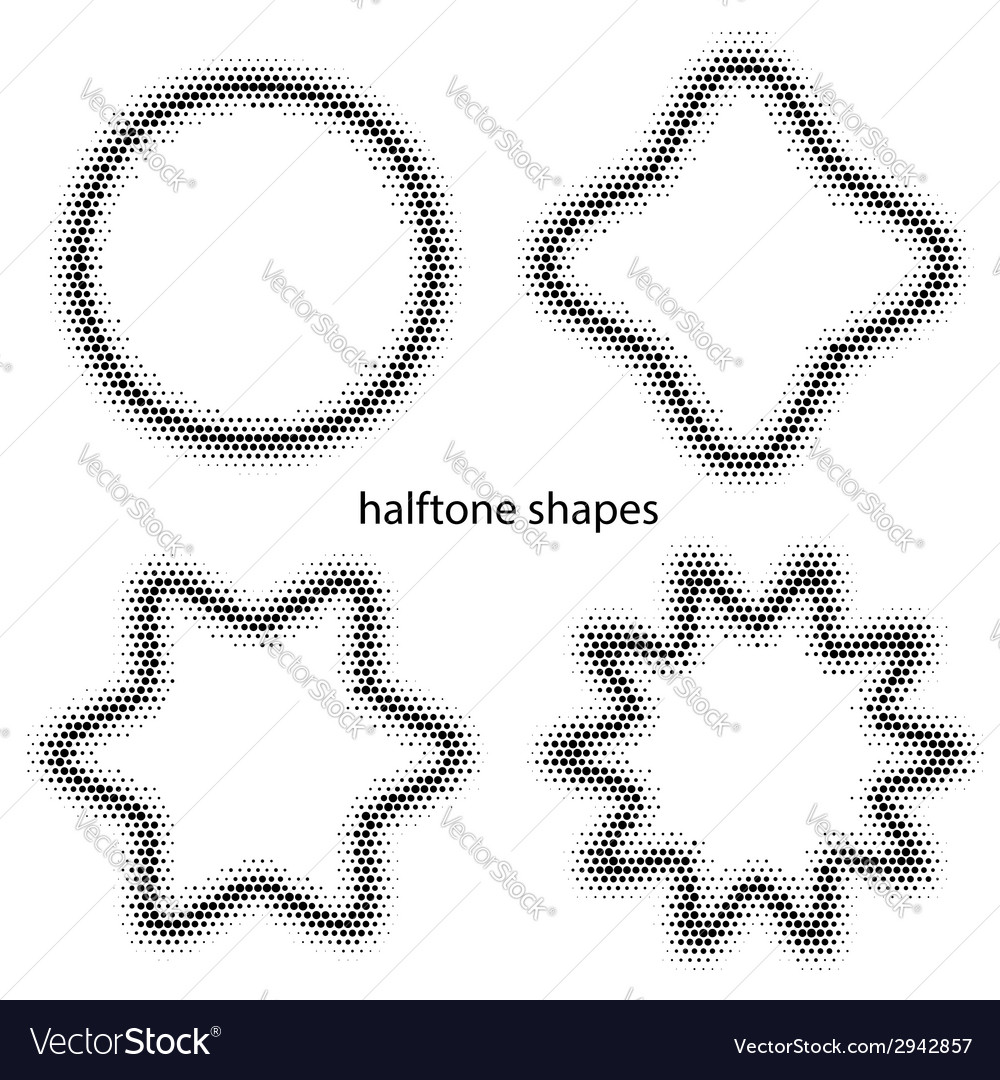 Halftone dots shapes vector | Price: 1 Credit (USD $1)
