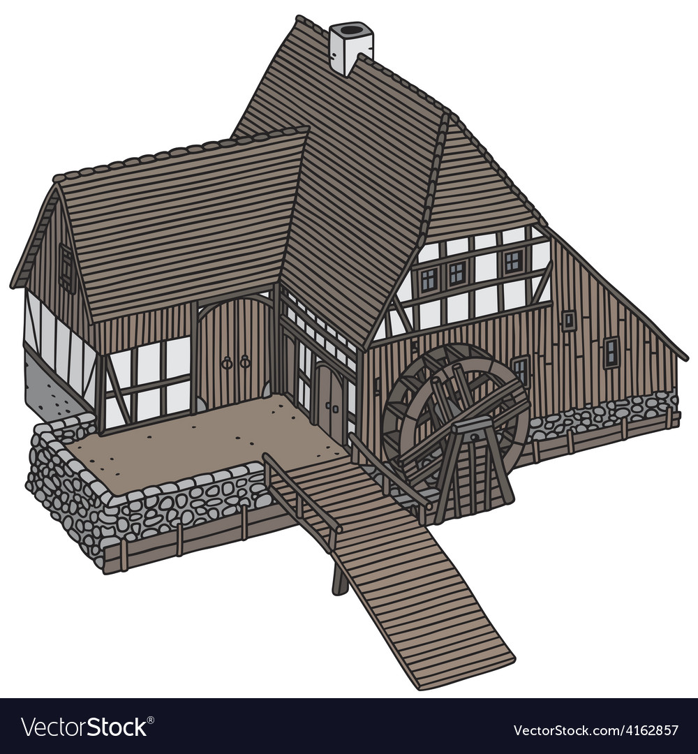 Old watermill vector | Price: 1 Credit (USD $1)