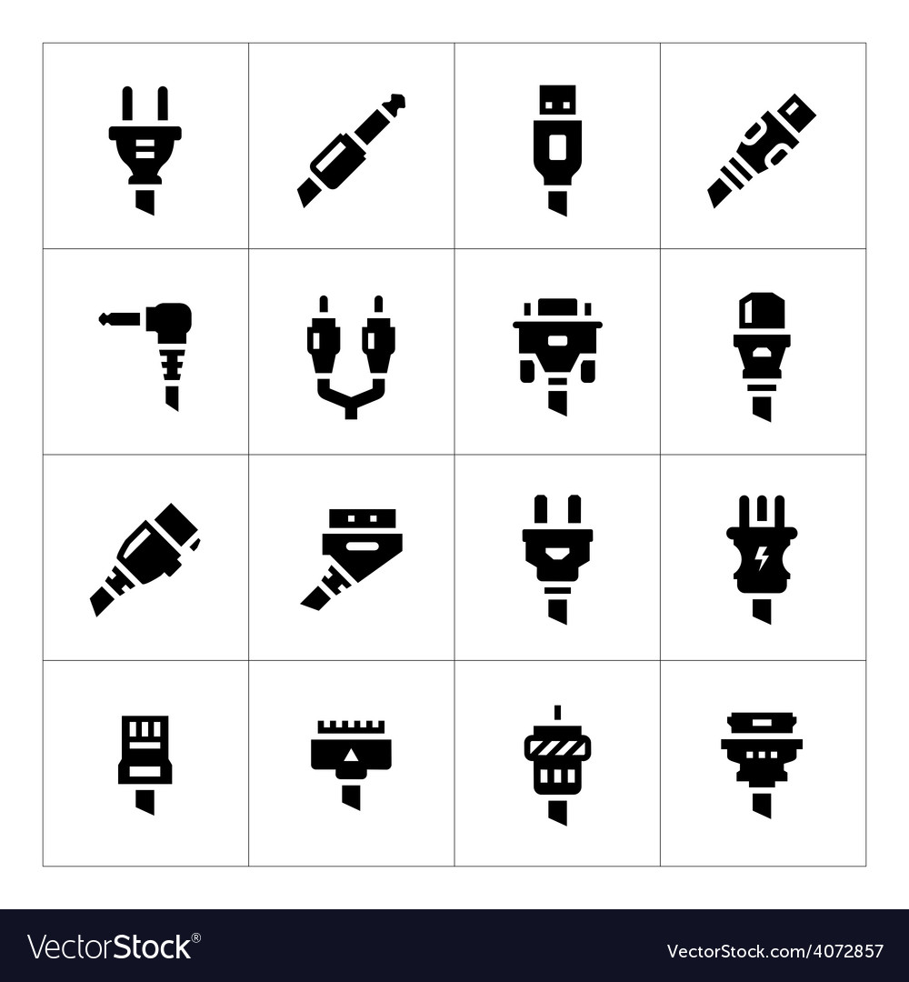 Set icons of plugs and connectors vector | Price: 1 Credit (USD $1)