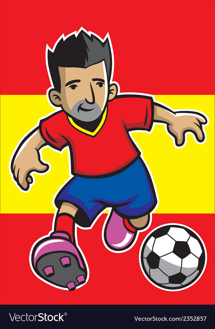 Spain soccer player with flag background vector | Price: 1 Credit (USD $1)