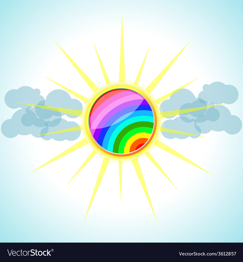 Sun with clouds vector | Price: 1 Credit (USD $1)