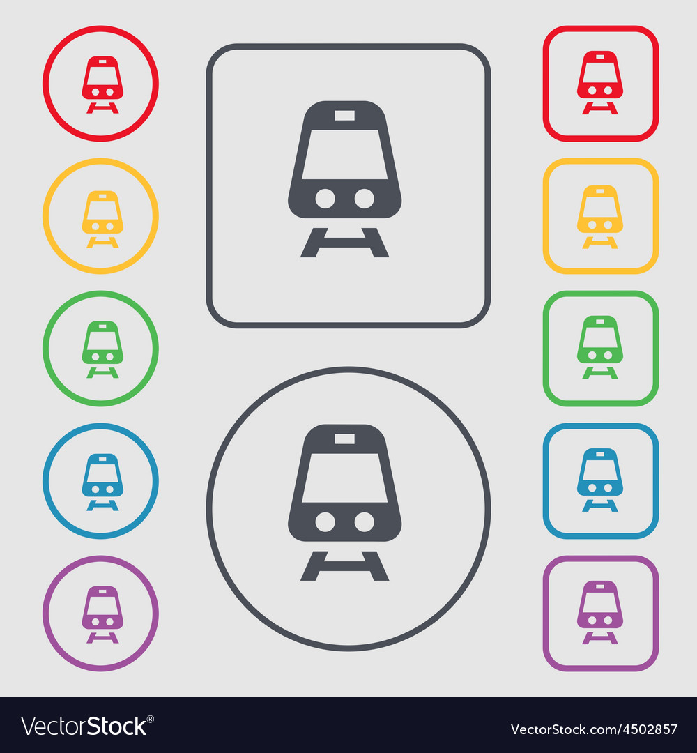 Train icon sign symbol on the round and square vector | Price: 1 Credit (USD $1)