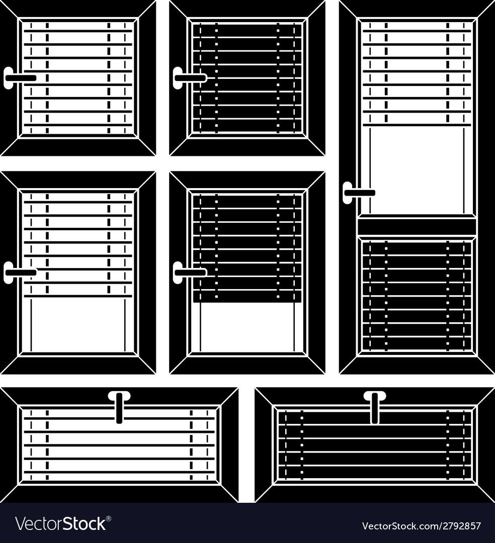 Venetian blind window black symbols vector | Price: 1 Credit (USD $1)