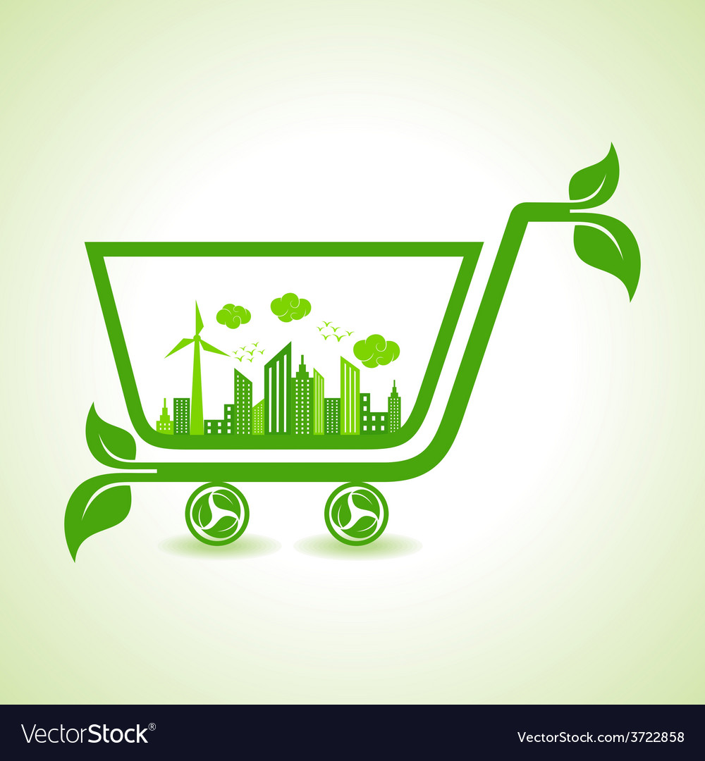 Ecology concept - eco cityscape with shopping cart vector | Price: 1 Credit (USD $1)