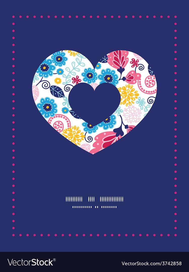 Fairytale flowers heart symbol frame vector   Price: 1 Credit (USD $1)