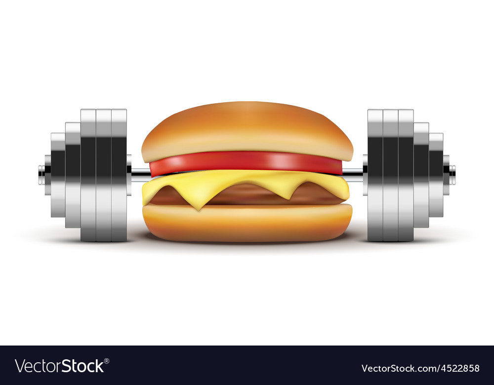 Fast food burger with barbell inside vector | Price: 1 Credit (USD $1)