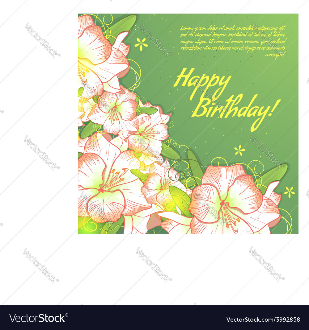 Floral decorative card with white amaryllis vector | Price: 1 Credit (USD $1)