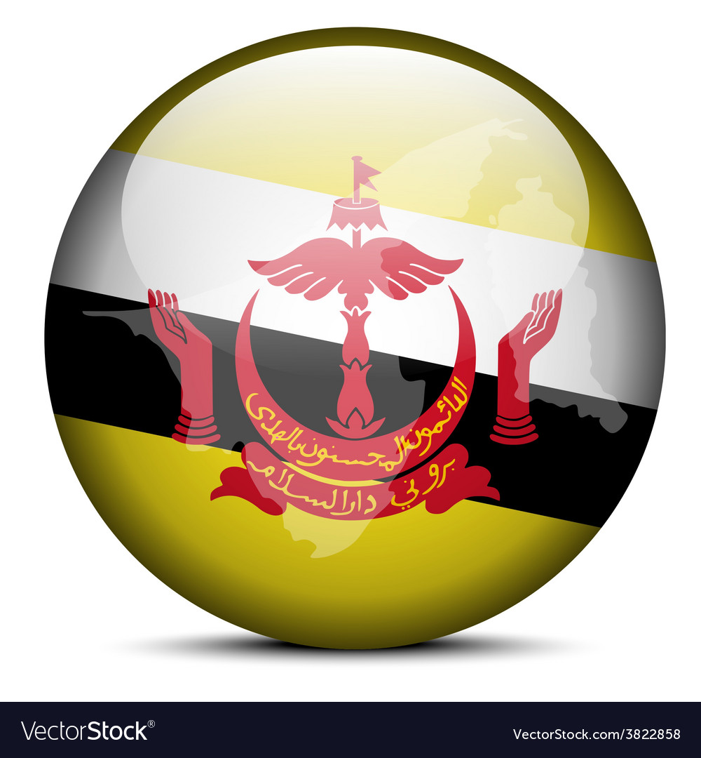 Map on flag button of brunei darussalam vector | Price: 1 Credit (USD $1)