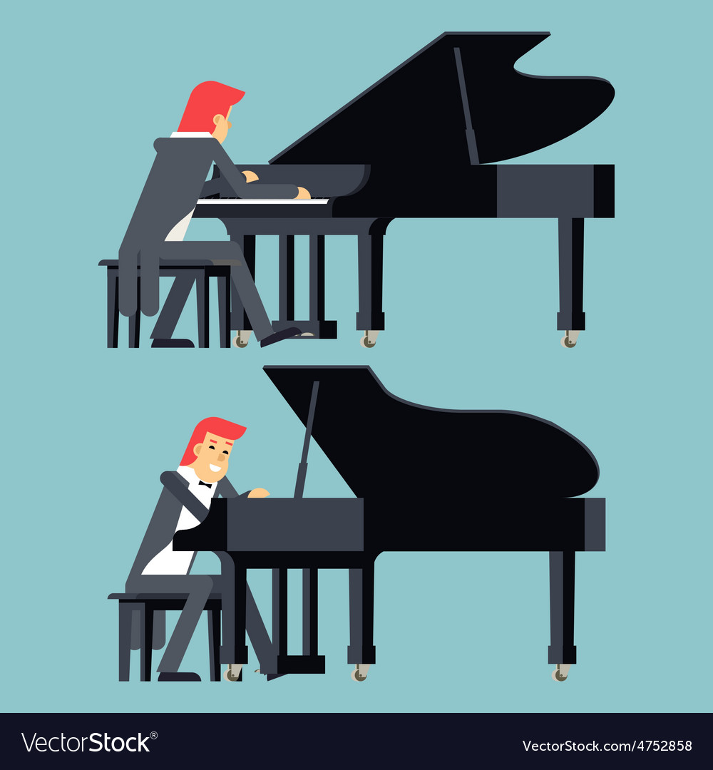 Pianist piano player concept character flat design vector | Price: 1 Credit (USD $1)