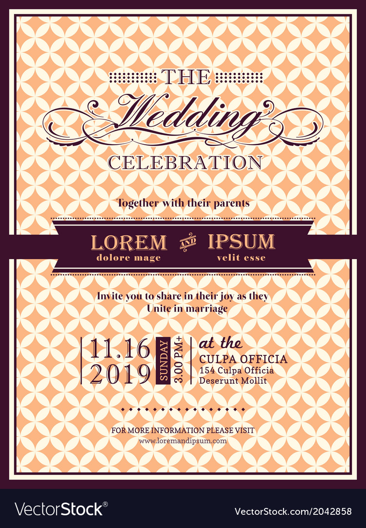Ribbon banner wedding invitation frame template vector | Price: 1 Credit (USD $1)