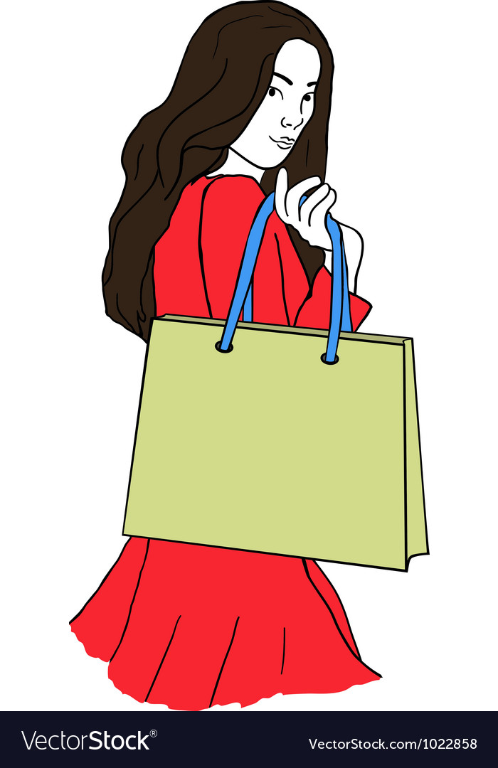 Young woman with a shopping bag vector | Price: 1 Credit (USD $1)