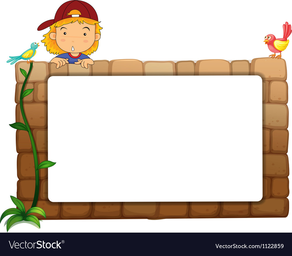 A white board a boy and birds vector | Price: 1 Credit (USD $1)