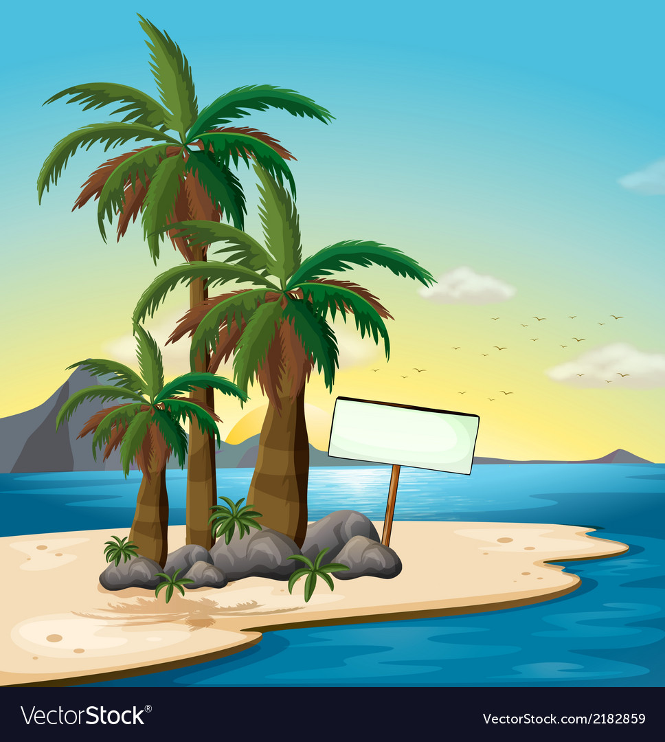 An empty signboard at the beach vector | Price: 3 Credit (USD $3)