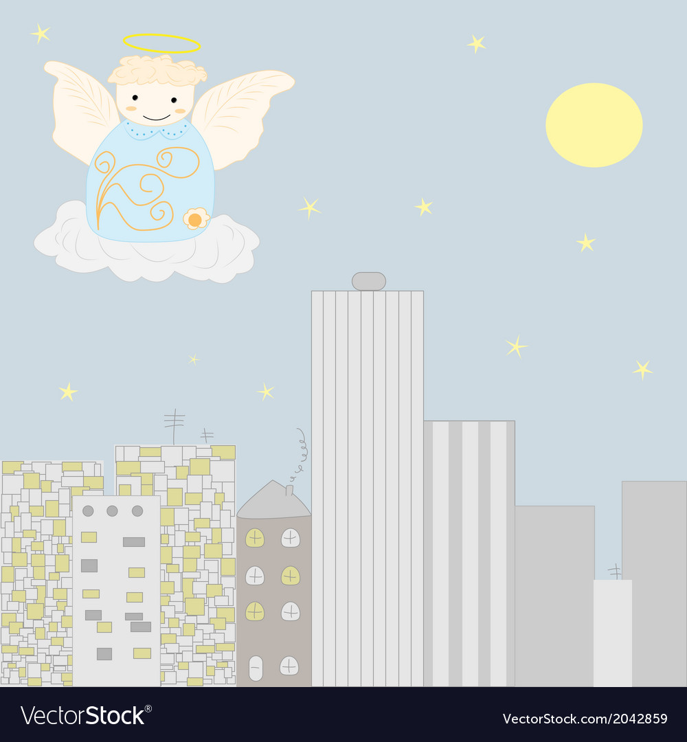 Angel at the sky vector | Price: 1 Credit (USD $1)