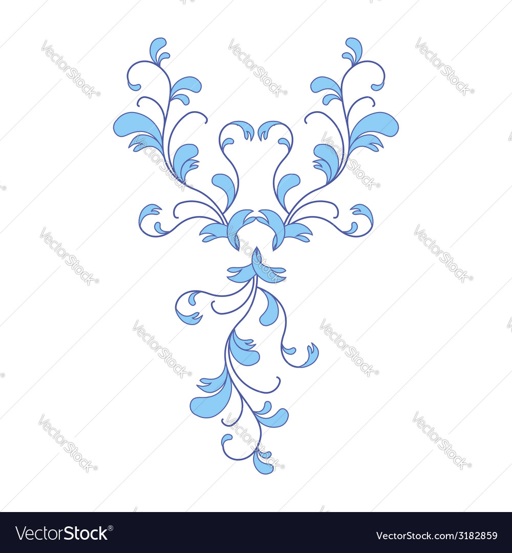 Blue flower ornament vector | Price: 1 Credit (USD $1)