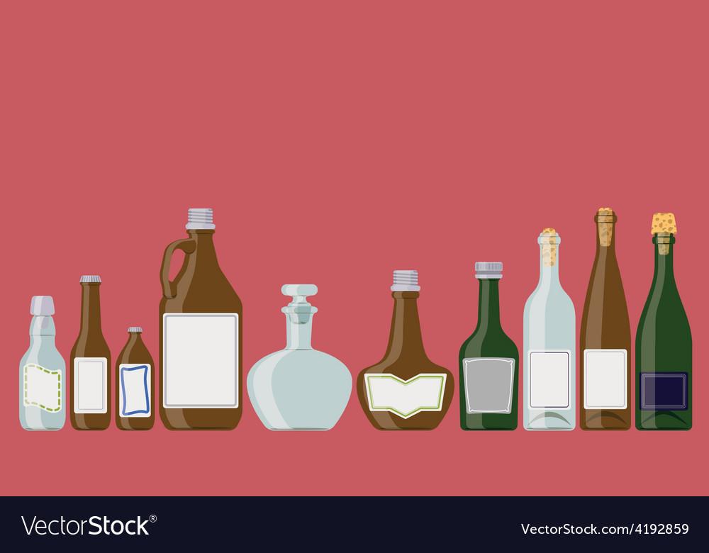 Bottles set alcoholic beverages vector | Price: 1 Credit (USD $1)