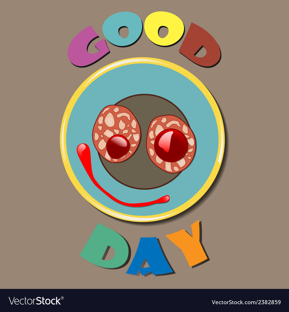 Comic color plate good day vector | Price: 1 Credit (USD $1)