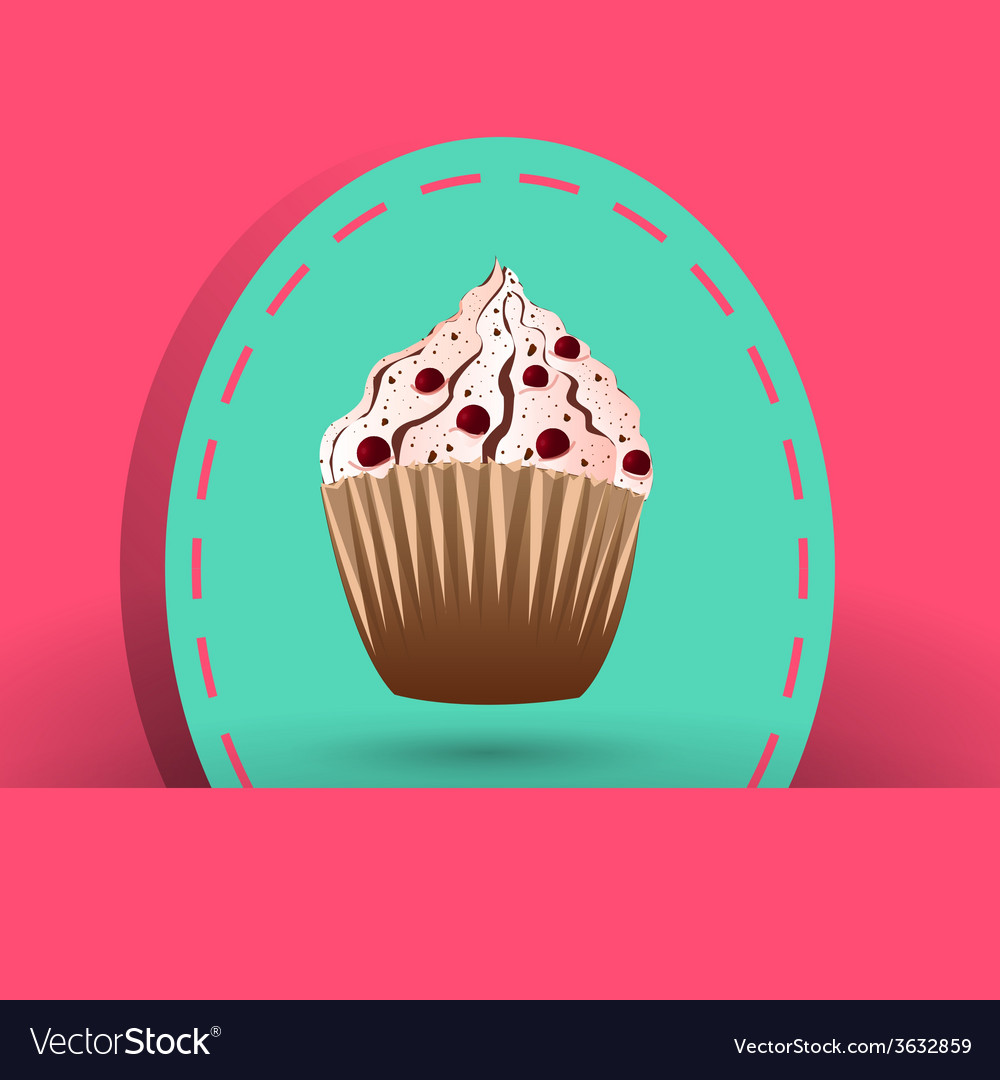 Cranberries cupcake on the pink background vector | Price: 1 Credit (USD $1)
