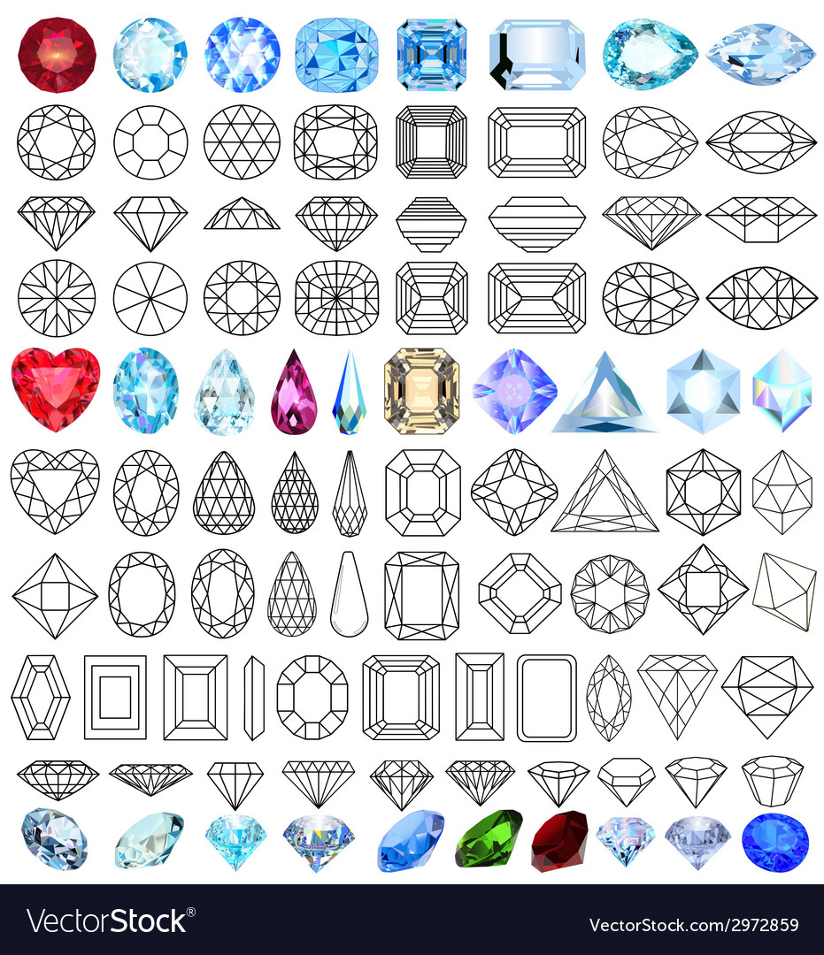 Cut precious gem stones set vector | Price: 1 Credit (USD $1)