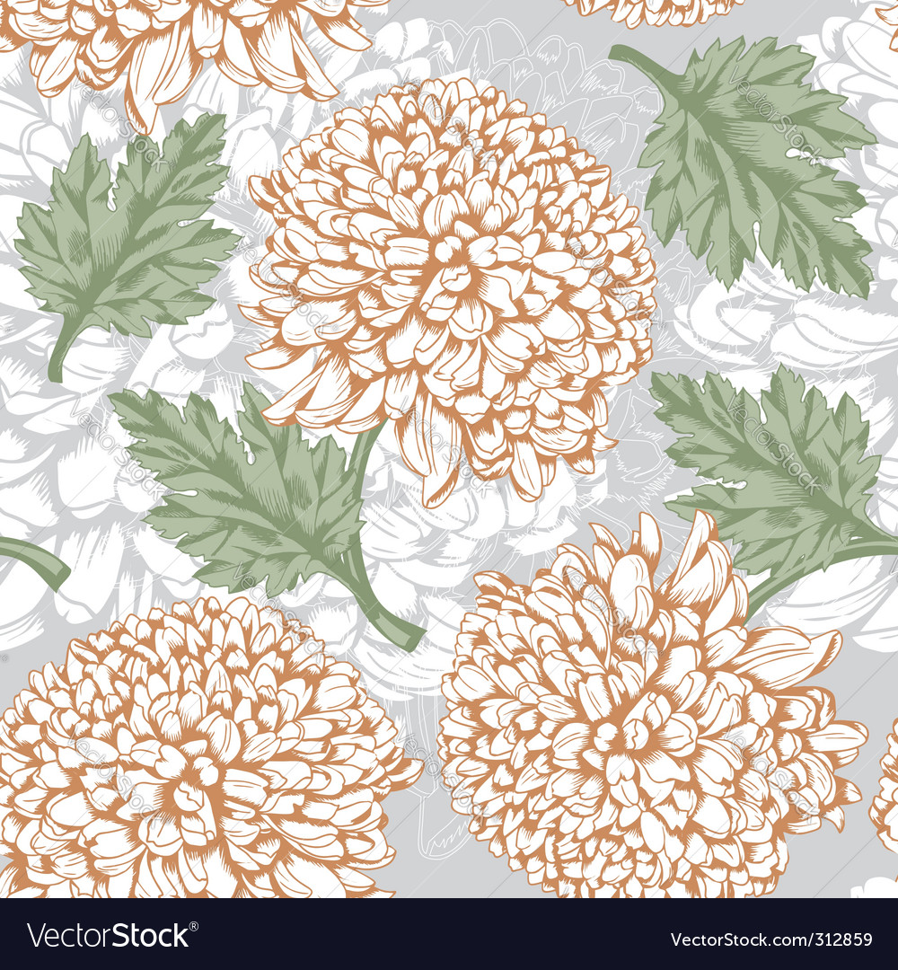 Excellent seamless pattern with chrysanthemum vector | Price: 1 Credit (USD $1)